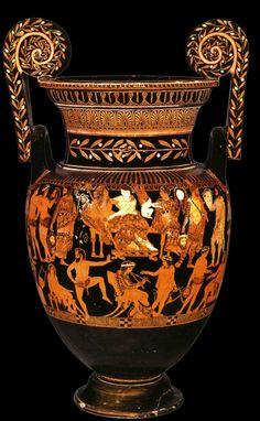Vase de Pronomos, cratère attique à figures rouges, IVe s. av. J.-C., Musée archéologique national de Naples.