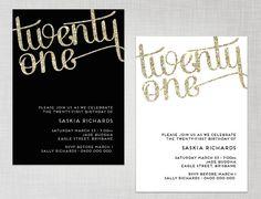PRINTABLE 21st Birthday Gold Glitter Black OR White Party Invitation - digital invite via Etsy