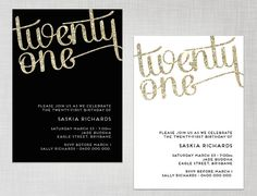 PRINTABLE 21st Birthday Gold Glitter Black OR White Party Invitation - digital invite via Etsy