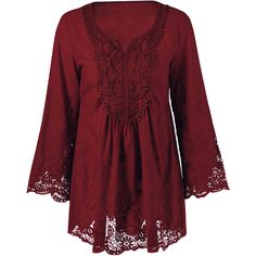 Lace Trim Plus Size Tunic Blouse ($17) ❤ liked on Polyvore featuring tops, plus size red tops, women's plus size tops, red top, womens plus tops and lace trim top