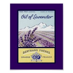 Vintage label from Grasse France. Field of Lavender with mountains in the background.