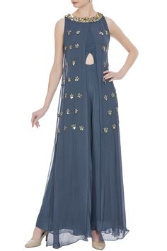 Buy Georgette bead & sequin layered jumpsuit by Nidhika Shekhar at Aza Fashions Pakistani Formal Dresses, Indian Gowns Dresses, Pakistani Dress Design, Pakistani Outfits, Indian Outfits, Ethnic Outfits, Stylish Dresses, Simple Dresses, Fashion Dresses