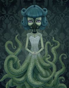 I'm not sure  what the artist intended the meaning to be here, but, with the way I see it, the water's become so polluted that even a hybrid human/octopus must wear a mask. Disguising the issue, while saving this particular creature's life.