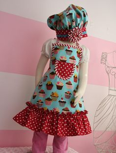 Kids Ruffle Apron  Little Girls Apron  Teal Cupcake by KitchenGlam