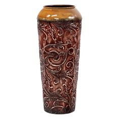 Scroll Small Metal Vase, Dark Red