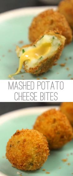 Mashed potatoes are one of those dishes that everybody likes. So doesn't that mean there should be TONS of ways to adapt them into fun and tasty treats? Try these little bites that are fried to perfection. Even better? They have a gooey cheese center tha I Love Food, Good Food, Yummy Food, Yummy Eats, Delicious Recipes, Fun Recipes, Yummy Snacks, Healthy Food, Breakfast Recipes