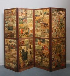 Unique Antique Four Fold Oak Dressing Screen. - Antiques Atlas