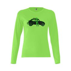 1970 Volkswagen Beetle Green BAJA Gildan Women's T-shirt (long-sleeve)