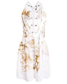 Roberto Cavalli Short Olimpia Dress Front lace up dress in a white poplin with gingham print detail