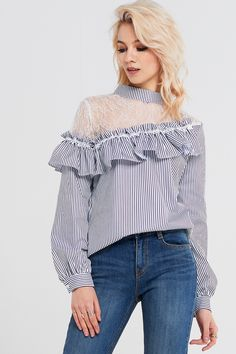Keith Lace Shoulder Ruffle Blouse Discover the latest fashion trends online at storets.com