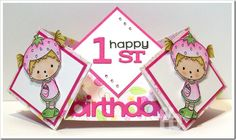 Double Diamond Fold Card created by Frances Byrne using Strawberry Beatrice – CC Designs