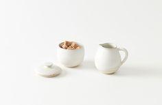 Christiane Perrochon White Beige Sugar & Creamer Set