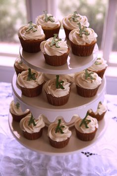 ... -almond cupcakes with vanilla-almond buttercream. Gum paste letters
