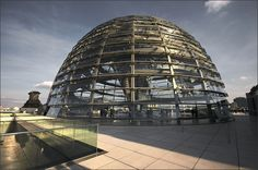 The glass dome on the roof of the Reichstag (German Parliament) in Berlin, Germany