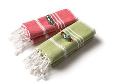 Hand Size Peshtemal Set of 2  Green and Red  Peshkir by Orientina, $15.00