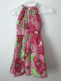 Girls Size 7 Lilly Pulitzer Jubilee Dress Pink Green Floral Sleeveless Lined #LillyPulitzer