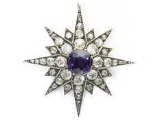 Victorian diamond and natural purple spinel star pendant/brooch, circa 1880 to 1890 (verified by Moira Jewels)
