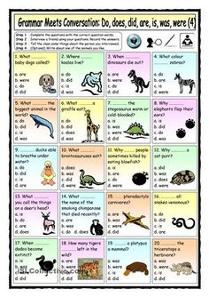 Grammar-based themed worksheet (Animal Knowledge) aimed at practising the use present and past simple questions with do/does/are/is, speaking, listening, asking for clarification, asking to repeat, note-taking, short presentations or talking in front of the class and writing a paragraph. Fully editable, printer-friendly colours (background colour does not print) and plain vanilla version (without any colour or clip art) included on 2nd page. Answer key provided. NOTE: If you want students…