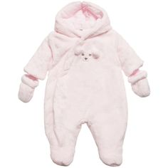 ABSORBA Baby Girls Pink Pramsuit with Bear Face