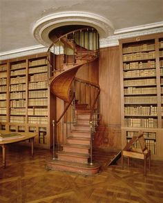 spiral staircase, Emperor's Private Library at Chateau Fontainebleu | Seine-et-Marne, France