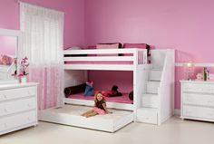 Girls Bunk with Trundle - sleepover time! White bunk beds with staircase as matching white dresser and mirror. #Maxtrix