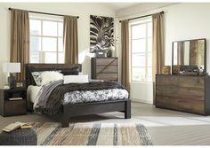 Windlore Dark Brown Queen Panel Bed w/Dresser, Mirror, Chest, Nightstand,Signature Design By Ashley