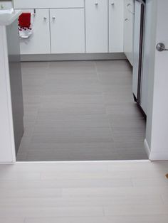 "Gray tile for kitchen?  White bamboo Floor and ""Linen"" like gray ceramic tile with radiant floor heat - contemporary - kitchen - seattle - by Winter Construction"
