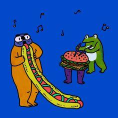 Hotdog pipe and burger drum!