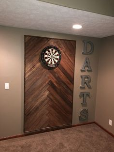 Wooden dart board wall in the man cave or game room. Basement Makeover, Basement Renovations, Home Remodeling, Game Room Basement, Basement House, Basement Ideas, Basement Man Caves, Diy Basement Furniture, Basement Bathroom