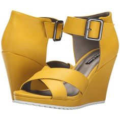 Michael Antonio Gratia (Yellow) Women's Wedge Shoes (€33) ❤ liked on Polyvore featuring shoes, sandals, yellow, yellow shoes, wide shoes, open toe platform sandals, platform sandals and wedge heel sandals