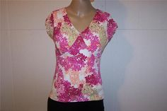 STYLE & CO Shirt Top Sz PM Nylon Stretch Short Sleeves V-Neck Lined Womens #Styleco #KnitTop #Casual