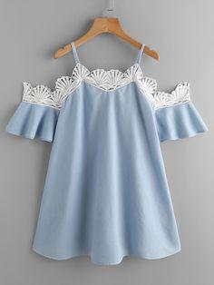 SheIn - SheIn Contrast Crochet Trim Dress - AdoreWe.com