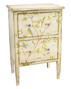 Bluebird and Branch Chest ~ US$365.90 (Original: $550.38) http://www.ruelala.com/invite/feature  White MDF and metal chest with bluebird and branches painted details Chest measures 24in wide x 16in deep x 37in high Features two drawers