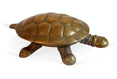 "Vintage Brass Turtle Trinket Figurine.  Lid opens for Trinkets.  No Maker's Mark.  5.5""Lx3.5""Wx2.5""H  $69  Sold"