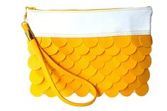 Beautiful Unique Yellow Women Vegan Faux Leather Clutch Purse Bag. - Yellow and White Colors. - The Yellow Mermaid  - This purse is perfect every women for