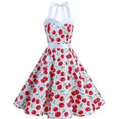 DRESSTELLS Vintage 1950s Rockabilly Polka Dots Audrey Dress Retro... ($9.99) ❤ liked on Polyvore featuring dresses, white prom dresses, white polka dot dress, white dress, vintage cocktail dresses and rockabilly dresses