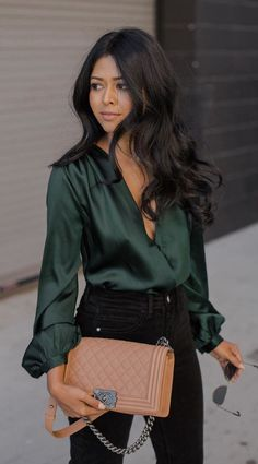 #fall #outfits women's green satin surplice long-sleeved shirt; black pants