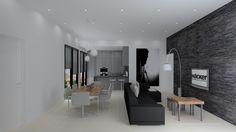Open plan apartment kitchen