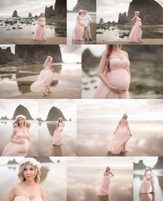 Cannon Beach Maternity Session, Oregon Coast Photographer, Portland Maternity Photographer, Maternity Gown, Pink Sew Trendy Dress, Shannon Hager Photography
