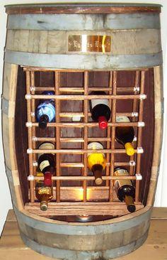 How cool!! Vintage wine/bourbon barrel wine rack