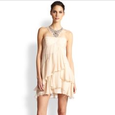 """BCBG Silk Chiffon Dress """"Joyce"""" 10 -No flaws- A pretty, perfect cocktail dress for instant glamour and fresh appeal for special spring occasions. Halter neck. Sleeveless. Beaded detail at bib halter strap. Crisscross ruching at bodice. Empire waist. Tiered ruffle construction. Concealed center back zipper with hook-and-eye closure. Chiffon: Silk. Mesh: Polyester. Dry Clean. Imported. BCBGMaxAzria Dresses Mini"""
