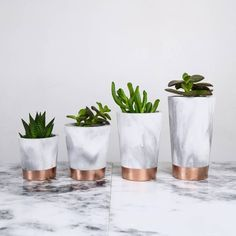 Sort Copper Dipped Marbled Cement Pots ($13) ❤ liked on Polyvore featuring home, kitchen & dining, serveware and copper pot