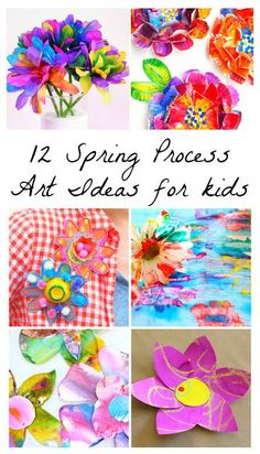 12 Beautiful Spring Flower Process Art Ideas for Kids from Fun at Home with Kids