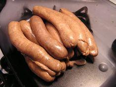 Homemade hot dogs. Recipe uses short ribs.