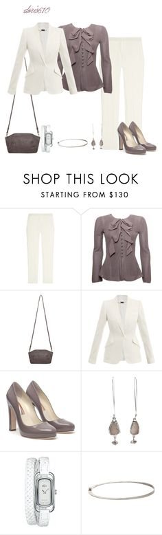 """White Suit"" by doris610 ❤ liked on Polyvore featuring Alexander McQueen, Armani Collezioni, Vanessa Bruno, Rupert Sanderson, Gems by Emily Howell and Lacoste"