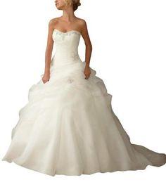 GEORGE BRIDE Luxus Ballkleid mit Rueschen besetztes Mieder Einbau Tiefe Taille Pick Up Organza Brautkleider Hochzeitskleider ,Groesse 34,Weiss #weddingdress #wedding #prom #cocktailattire #bride #covetme #georgebride
