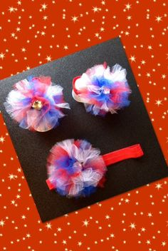 Barefoot baby sandals & headband red white blue tulle 4th of July on Etsy, $10.00