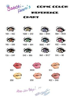 Copic eye and lip color chart.