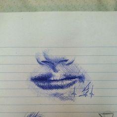 Particolare naso e bocca, disegno a penna.