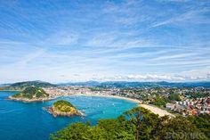 Beautiful white-sand beach opening onto a crescent-shaped bay in San Sebastian, Spain!